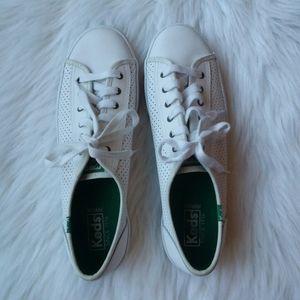 Keds Women's White Leather Kickstart Sneakers 10